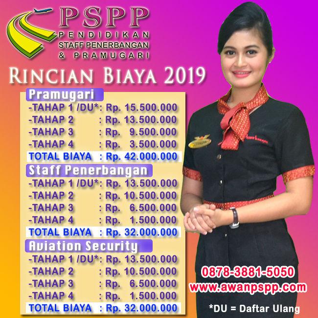 rincian biaya sekolah pramugari pspp 2019