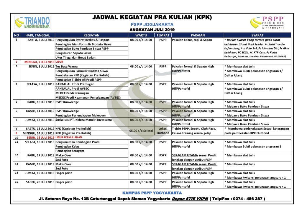 jadwal pspp juli 2019 Kampus Yogyakarta