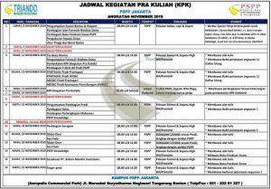 Jadwal PSPP Jakarta November 2019