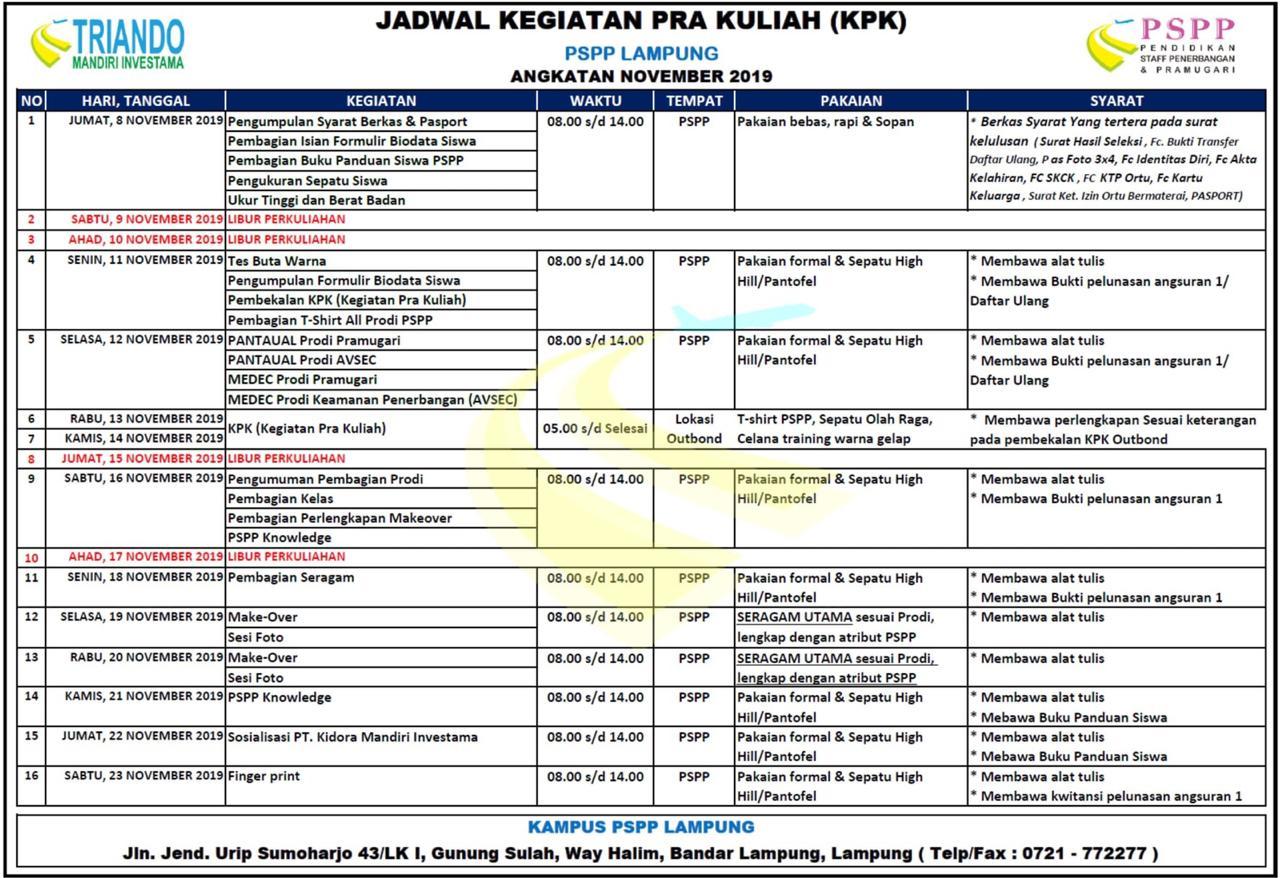 Jadwal PSPP Lampung November 2019