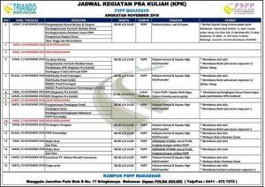 Jadwal kegiatan pra kuliah PSPP Makassar November 2019