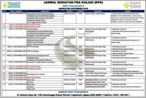 Jadwal PSPP Yogyakarta November 2019