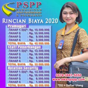 biaya sekolah pramugari 2020